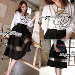 Lady Jane Camellia Blouse with Midi Skirt