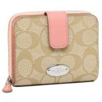 กระเป๋า COACH F52675 Signature PVC Med. zip Arround Wallet Pink ชมพูนมเย็น