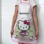 ผ้ากันเปื้อนกันน้ำ คิตตี้ kitty ขนาด 70cm * 49.8cm ลายฮัลโหลคิตตี้โบว์ชมพู วัสดุเป็น PE กันน้ำ