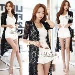 Lace long sleeve cardigan by Aris Code (สีดำ)