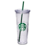 แก้วกาแฟ Starbucks 16 Ounce Clear Acrylic Insulated Tumbler (Grande To-Go Cup)