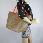 กระเป๋า COACH F34105 IMDX4 SIGNATURE LARGE COH TAXI TOTE IM/KHAKI/CORAL
