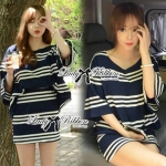 Lady Rebecca Minimal Chic Striped Cotton Jersey Set