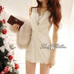 Lady Miki Pleats Please Chiffon Dress (สีขาว)
