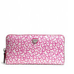 กระเป๋า COACH 50775 HEART PRINT ACCORDION ZIP WALLET $228 Pink