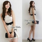Lady Ribbon Floral Lace Dress