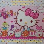 แผ่นยางรองจานทานอาหาร คิตตี้ kitty#7 ขนาด 43 ซม. * 29 ซม. ลายคิตตี้โบว์ชมพูจุดขาว พื้นชมพูจุดขาว