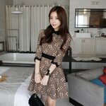 Korea retro diamond flower Puff Slim was thin dress