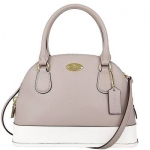 กระเป๋า COACH F34517 ColorBlock Crossgrain Leather Mini Cora Domed Satchel Crossbody ขาว/เทา