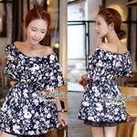 Lady Floral, Off-shoulder Mini dress (สีดำ)