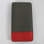 USA : กระเป๋าใส่ Smart Phone COACH F63233 GY/RD MEN'S Pebbled Leather Universal Phone Case Wallet