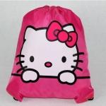 กระเป๋าถุงหูรูด คิตตี้ kitty ขนาด 44 ซม. * 30 ซม. ลายคิตตี้โบว์ชมพู พื้นสีชมพู