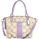 สินค้าอยู่ USA กระเป๋า COACH Sign Stripe Pocket Tote Handbag in Lt Khaki/Lavender F28208E
