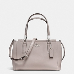 กระเป๋า Coach F34797 SVC2J Crossgrain Leather Mini Christie Satchel Purse Handbag Grey