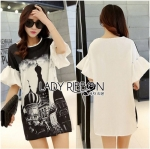 Lady Amy Indian Print Slouchy Dress in Black and White