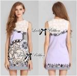 Lady Eleonore Versace Mixed Print Sleeveless Dress in Pastel (สีม่วง)