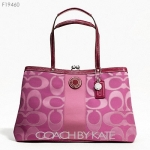 กระเป๋า Coach F19460 SIGNATURE STRIPE OUTLINE C SATEEN FRAMED CARRYALL