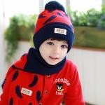 Tutuya เซทหมวกไหมพรม หมวกกันหนาวพร้อมผ้าพันคอเข้าชุด สีแดง-น้ำเงิน(กรม)