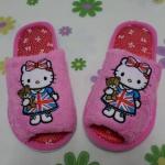 รองเท้าใส่ในบ้าน ออฟฟิศ คิตตี้ kitty-11 ขนาด free size ลายธงชาติอังกฤษคิตตี้หมี พื้นสีชมพู