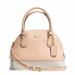 กระเป๋า COACH F34517 ColorBlock Crossgrain Leather Mini Cora Domed Satchel Crossbody