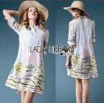 Lady Lauren Minimal Chic Embroidered Cotton Shirt Dress