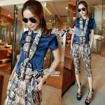 Lady Violet Plain T-shirt and Print Pants with Scarf Set