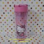 แก้วทรงกระบอกพร้อมตัวกรองและฝาปิด คิตตี้ kitty ขนาดสูง 19 cm สผก 7 cm ลายคิตตี้โบว์ชมพู