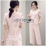 Lady Olivia Smart Casual Baby Pink Lace Top and Pants Set
