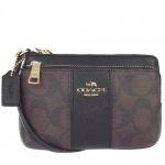 กระเป๋า Coach F52853 IMAA8 Double Zipper Pocket Wristlet Khaki/Midnt Sig Coated Canvas