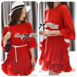 Lady Mandy Scarlett Red Pleated Frill with Belt