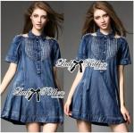 Lady Christine Embellished Washed Denim Shirt Dress
