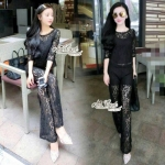 Lace long Sleeve T-shirt True by Aris Code (สีดำ)