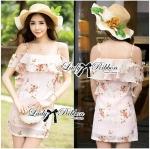 Lady Selena Sweet Feminine Floral Printed Silk Cotton Ruffle Dress (สีชมพู)