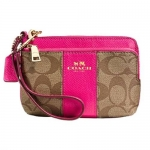 กระเป๋า Coach F52853 Double Zipper Pocket Wristlet Khaki/Midnt Sig Coated Canvas