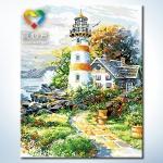 รหัส HB4050172 ภาพระบายสีตามตัวเลข Paint by Number แบบ Lighthouse Garden ขนาด40x50cm/พร้อมส่ง