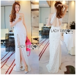Lady Nicole Sexy Chic High-Neck Graphic Lace Maxi Dress