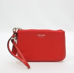 กระเป๋าคล้องแขน Coach F48689 B4/RD SMALL LEATHER WRISTLET CARNELIAN WRISTLET WALLET
