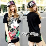 Lady Micky Printed and Sequin Liz Hip-Hop Style T-Shirt Dress