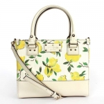 พร้อมส่งจาก USA : กระเป๋า KATE SPADE WKRU3079 SMALL QUINN WELLESLEY LEMON FABRIC SATCHEL 763