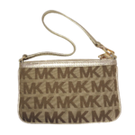 กระเป๋าคล้องแขน MICHAEL KORS LOGO SAFFIANO BROWN/GOLD MEDIUM WRISTLET