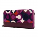 กระเป๋า COACH Park Op Art Print Zip Around Wallet in Bordeaux Multi F50433