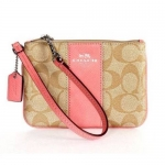 กระเป๋า COACH F52860 SIGPK Signature C Khaki Pink PVC Leather Wristlet สีชมพูอ่อน