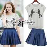 Lady Embroidered Horse Print Top and Denim Flared Skirt Set