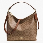 กระเป๋า COACH F34910 IMBDX SIGNATURE CELESTE CONVERTIBLE HOBO KHAKI/SADDLE