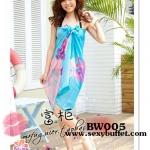 BW005 ผ้าคลุมเดินชายหาด ลายดอกไม้สีฟ้าสดใส 【พร้อมส่ง】