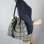 กระเป๋า COACH F30581 SIGNATURE LARGE BLACK GRAY SHOULDER BAG CROSSBODY HOBO