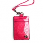 ที่ใส่ ID COACH F62406 Perforated Embossed Liquid Gloss Lanyard ID Pink