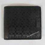 สินค้าอยู่ USA: กระเป๋าสตางค์ COACH Heritage Signature Embossed Double Billfold Men's Wallet Black F74549 BLK
