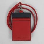 USA : ที่ใส่ไอดี COACH F61313 RD/NV HERITAGE WEB Pebbled Leather Lanyard ID Badge Holder RED NAVY