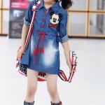เดรสสาวน้อยสียีนส์ปักตัว Mickey Mouse